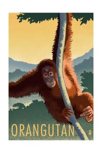 Orangutan - Lithograph Series by Lantern Press