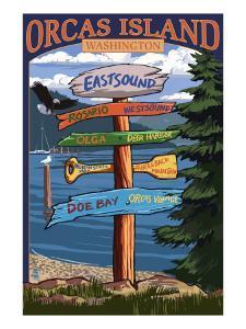 Orcas Island, WA - Destination Sign by Lantern Press