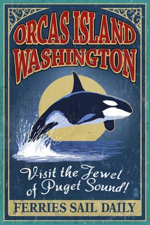 Orcas Island, WA - Orca Whale Vintage Sign by Lantern Press