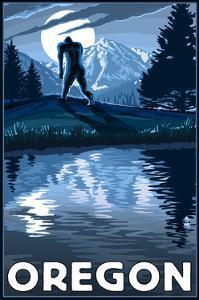 Oregon - Bigfoot and Mountain by Lantern Press