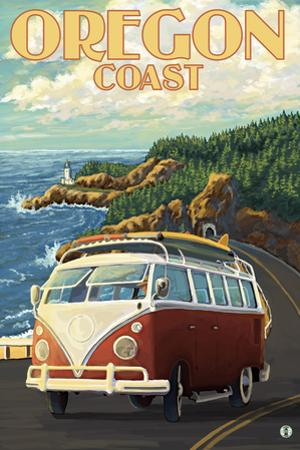 Oregon Coast, Cruising the Coast, VW Bug Van by Lantern Press
