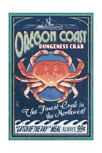 Oregon Coast - Dungeness Crab Vintage Sign by Lantern Press