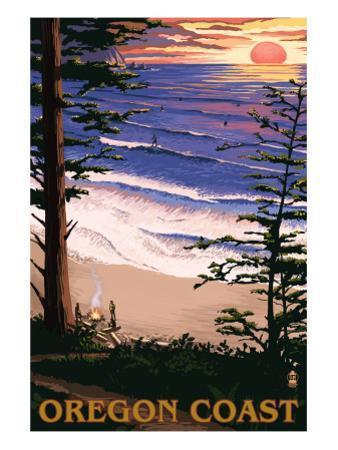 Oregon Coast Sunset Surfers by Lantern Press