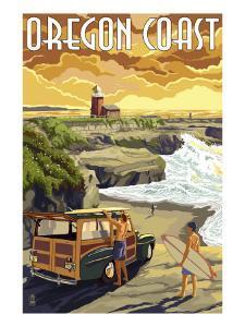 Oregon Coast - Woody and Lighthouse by Lantern Press