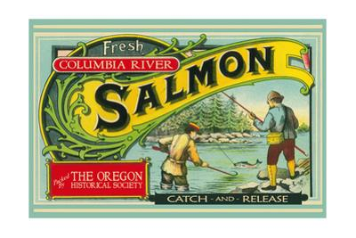 Oregon - Columbia River - the Oregon Historical Society Salmon Label by Lantern Press