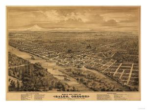 Oregon - Panoramic Map of Salem by Lantern Press