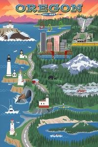 Oregon - Retro Scene by Lantern Press