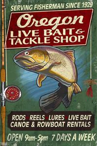 Oregon - Tackle Shop Trout Vintage Sign by Lantern Press