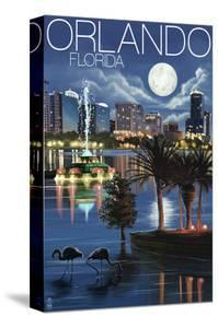 Orlando, Florida - Skyline at Night by Lantern Press