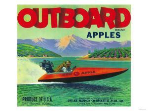 Outboard Apple Label - Chelan, WA by Lantern Press