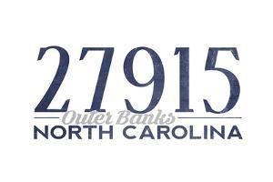 Outer Banks, North Carolina - 27915 Zip Code (Blue) by Lantern Press