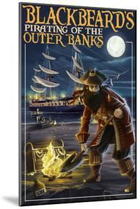 Outer Banks, North Carolina - Blackbeard Pirate and Queen Anne's Revenge by Lantern Press