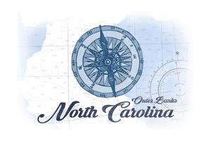 Outer Banks, North Carolina - Compass - Blue - Coastal Icon by Lantern Press