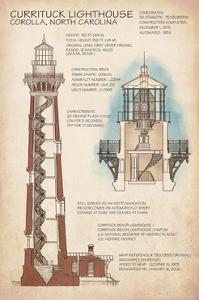 Outer Banks, North Carolina - Currituck Beach Lighthouse Technical by Lantern Press