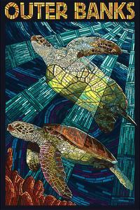 Outer Banks, North Carolina - Sea Turtle Mosaic by Lantern Press