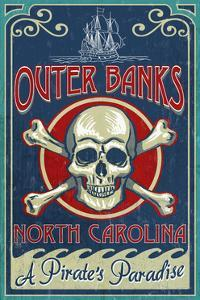 Outer Banks, North Carolina - Skull and Crossbones Sign by Lantern Press