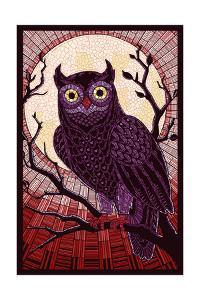 Owl - Paper Mosaic (Red) by Lantern Press