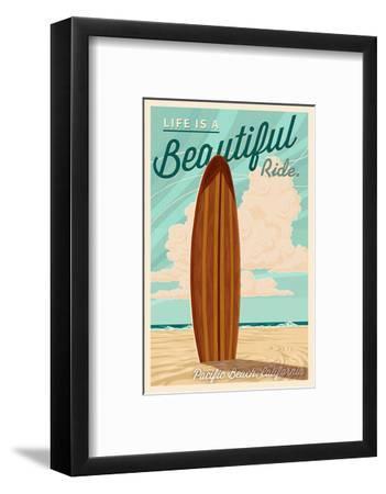 Pacific Beach, California - Life is a Beautiful Ride - Surfboard Letterpress