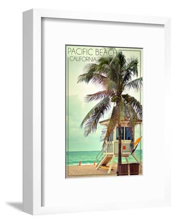 Pacific Beach, California - Lifeguard Shack and Palm