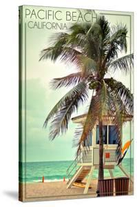 Pacific Beach, California - Lifeguard Shack and Palm by Lantern Press