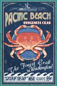 Pacific Beach, Washington - Dungeness Crab Vintage Sign by Lantern Press