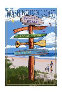 Pacific Beach, Washington - Washington Coast - Signpost Destinations by Lantern Press