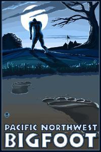Pacific Northwest - Bigfoot Scene by Lantern Press