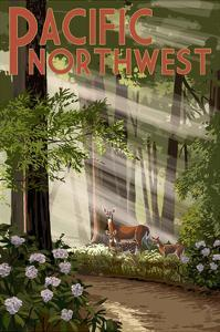 Pacific Northwest - Deer in Forest by Lantern Press
