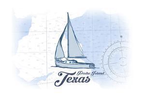 Padre Island, Texas - Sailboat - Blue - Coastal Icon by Lantern Press