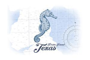 Padre Island, Texas - Seahorse - Blue - Coastal Icon by Lantern Press