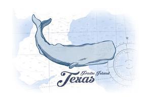 Padre Island, Texas - Whale - Blue - Coastal Icon by Lantern Press