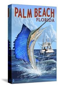 Palm Beach, Florida - Sailfish Scene by Lantern Press
