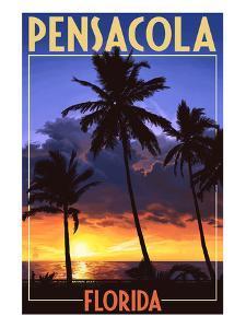 Palms and Sunset - Pensacola, Florida by Lantern Press