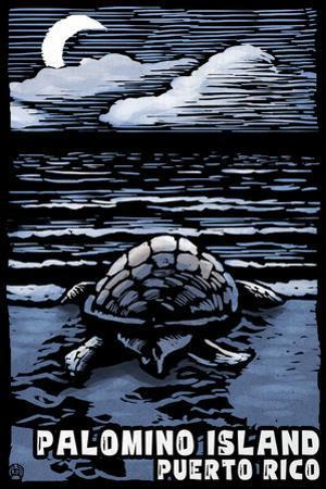 Palomino Island, Puerto Rico - Sea Turtle on Beach - Scratchboard