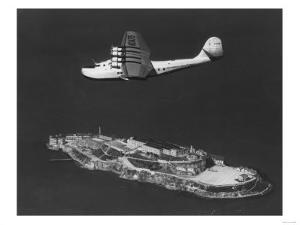 Pan American China Clipper Flying Over Alcatraz Island Photograph - San Francisco, CA by Lantern Press