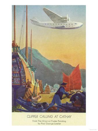 Pan-American Clipper Flying Over China - Hong Kong, China by Lantern Press