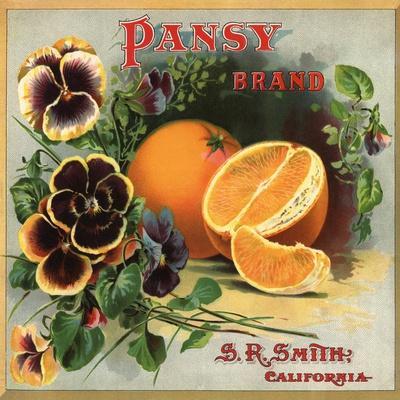 Glendora Los Angeles Pansy Flowers Orange Citrus Fruit Crate Label Art Print
