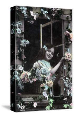 Paris, France - Little Girl at Window with Flowers