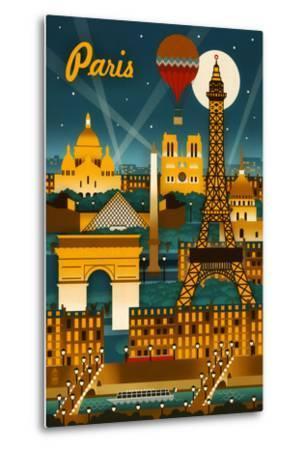 Paris, France - Retro Skyline