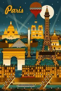 Paris, France - Retro Skyline by Lantern Press