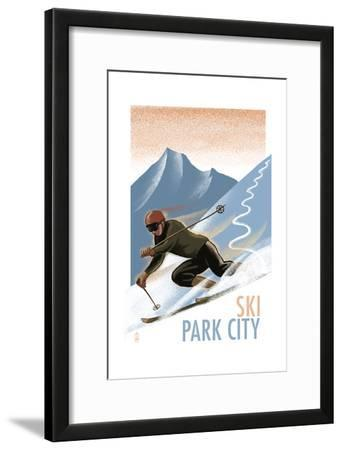 Park City, Utah - Downhill Skier Lithography Style