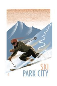 Park City, Utah - Downhill Skier Lithography Style by Lantern Press