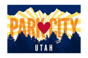 Park City, Utah - Heart and Treeline (Horizontal) - Lantern Press Artwork by Lantern Press