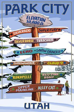 Park City, Utah - Ski Signpost by Lantern Press