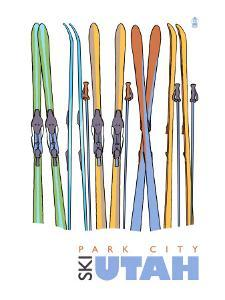 Park City, Utah, Skis in the Snow by Lantern Press
