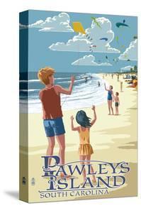 Pawleys Island, South Carolina - Kite Flyers by Lantern Press