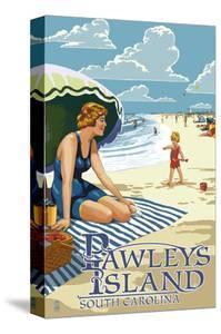Pawleys Island, South Carolina - Woman on Beach by Lantern Press