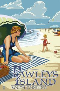 Pawleys Island, South Carolina - Woman on Beach by Lantern Press