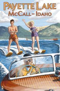Payette Lake, McCall, Idaho - Water Skiing Scene by Lantern Press
