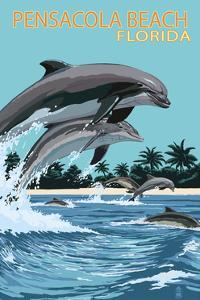 Pensacola Beach, Florida - Dolphins Jumping by Lantern Press